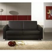 Messina Leder schwarz 140x200cm Armlehne: 19 Fuß:-84 chrom