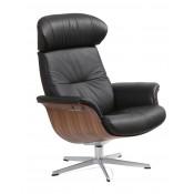 Conform Timeout Sessel Rücken medium mit Schale in Wallnuss, X-Fuß Aluminium Standardhöhe, Bezug: Leder Naturelle schwarz
